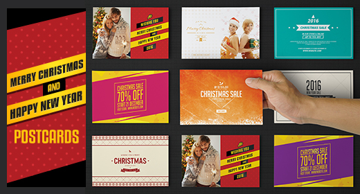 Christmas And New year Postcards