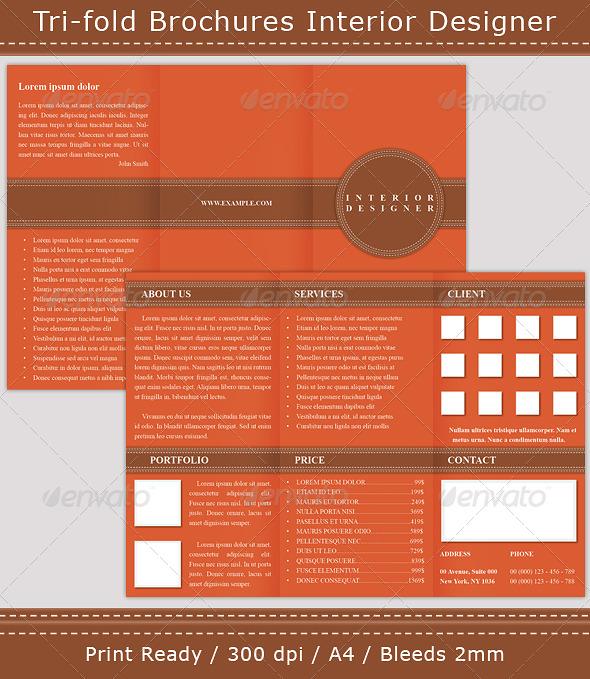 GraphicRiver Tri-fold Brochures Interior Designer 198647