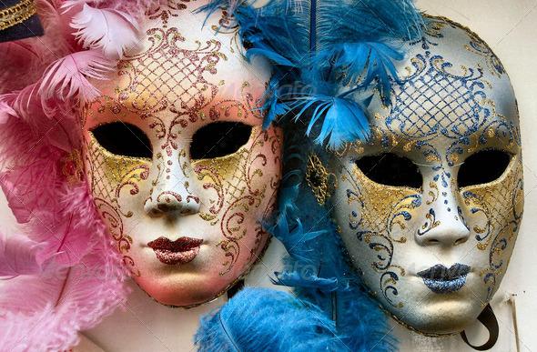 Italy - Venetian Masks - Stock Photo - Images