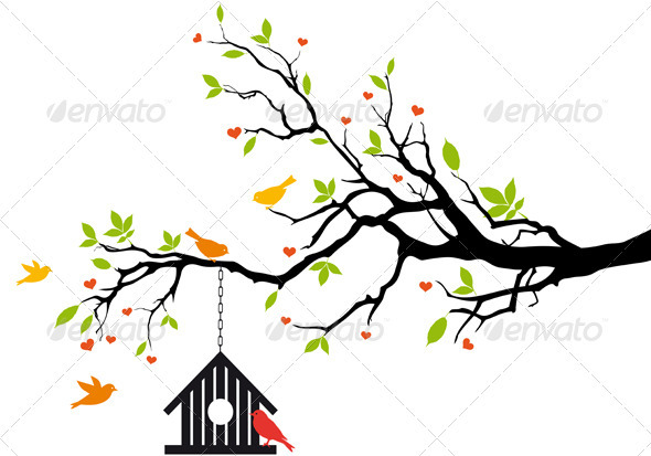 Bird House On Spring Tree Vector