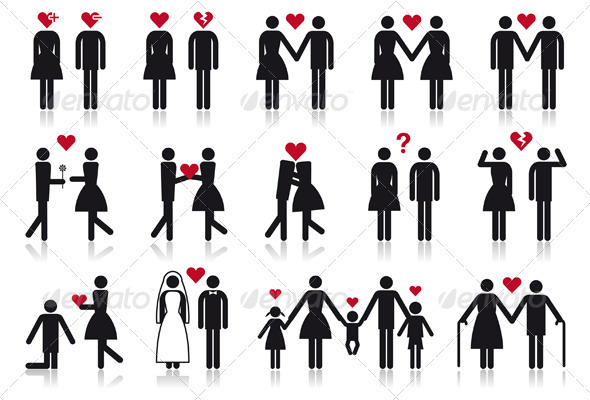 GraphicRiver People In Love Vector Icon Set 1687005