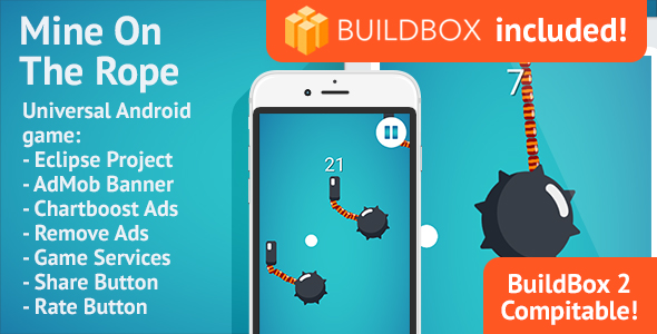 BuildBox Game Template. Mine On The Rope: Android, Easy Reskin, AdMob & Chartboost, Remove Ads IAP - CodeCanyon Item for Sale