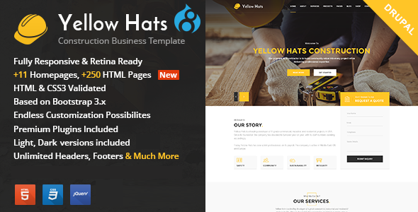 Yellow Hats - Construction, Building & Renovation Drupal Theme