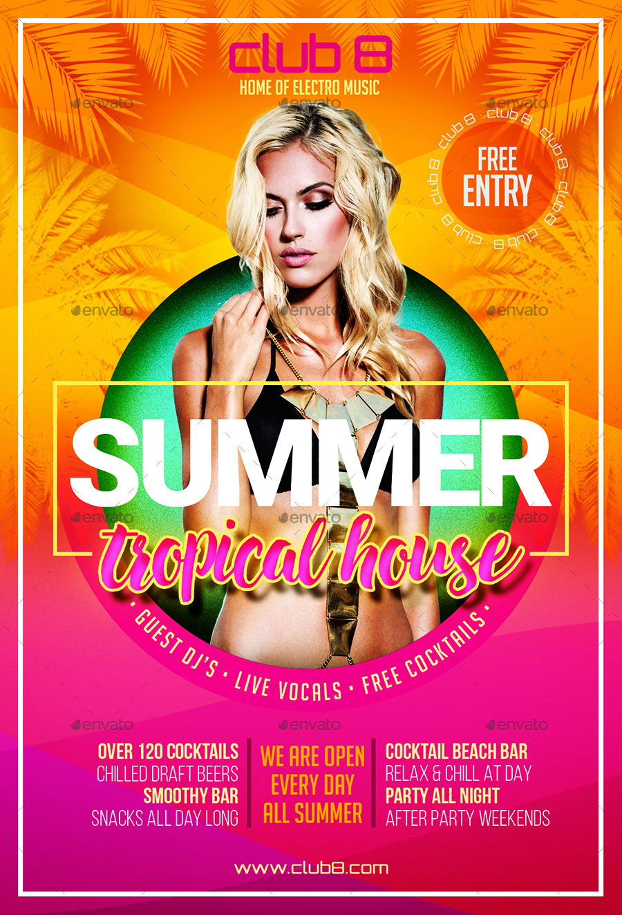 Summer Tropical House Flyer Template by DESIGNROOM1229 ...