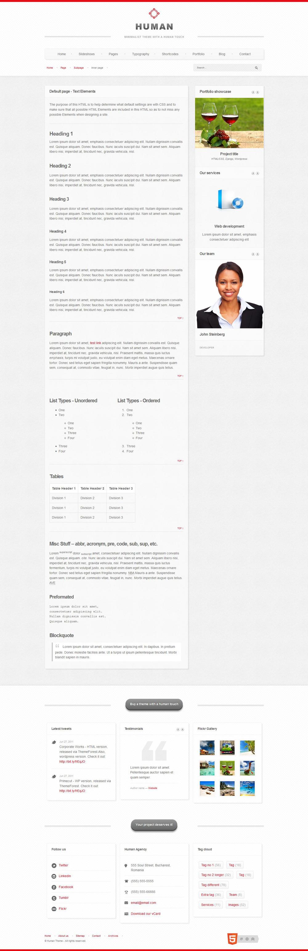 Human - Responsive  HTML5 theme