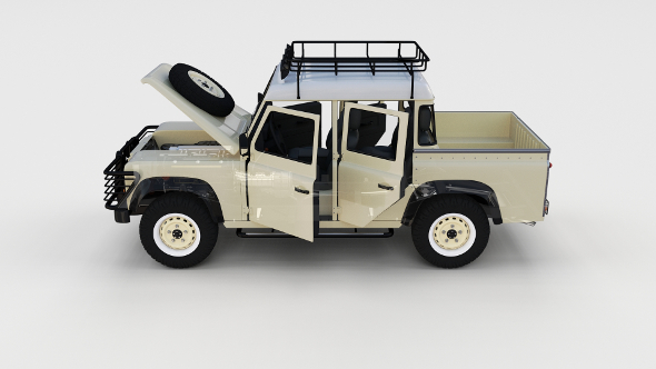 Full Land Rover Defender 110 Double Cab Pick Up rev - 3DOcean Item for Sale