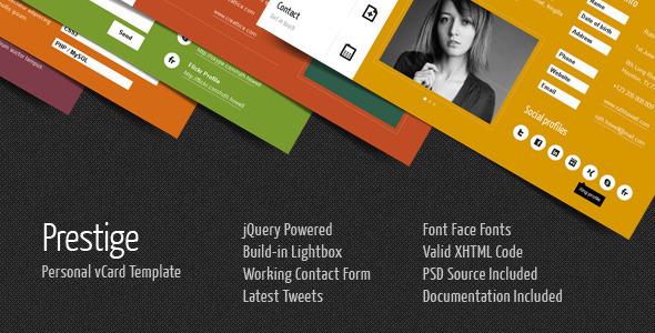 Prestige - Personal vCard Template - Personal Site Templates