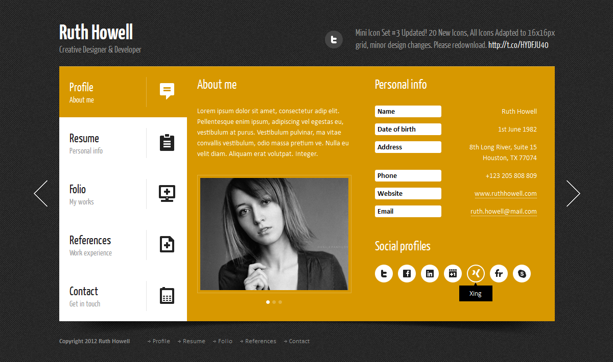 prestige personal vcard template by quanticalabs