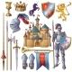 Knight Decorative Icons Set