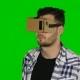Virtual Reality. VR Glasses. Green Screen.