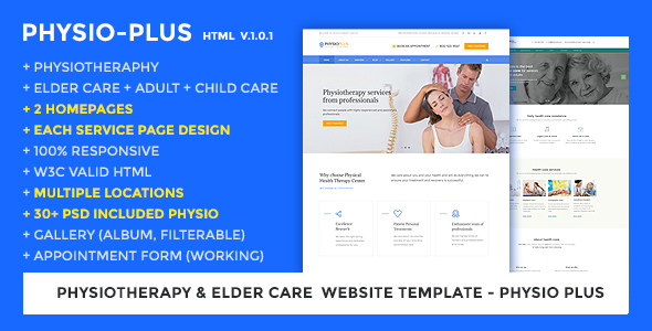 Physiotherapy & Elder Care Responsive Website Template   Physio Plus