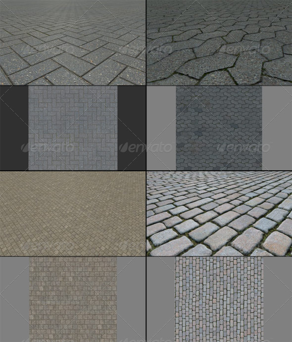 Texture Pack - Pavement 001 - 3DOcean Item for Sale