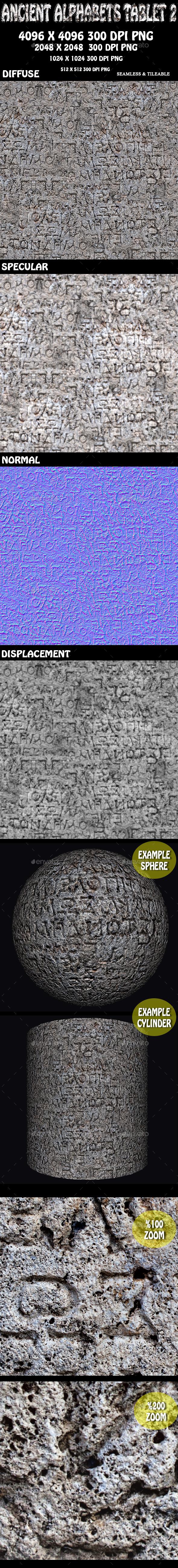 Ancient Alphabet Tablet Stone 3D - 3DOcean Item for Sale