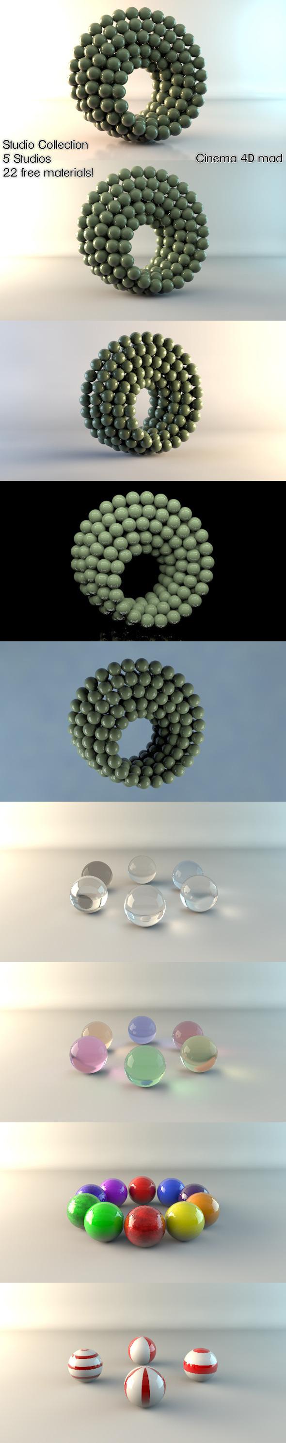 3DOcean 5 Studios & 22 Materials C4D 1688015