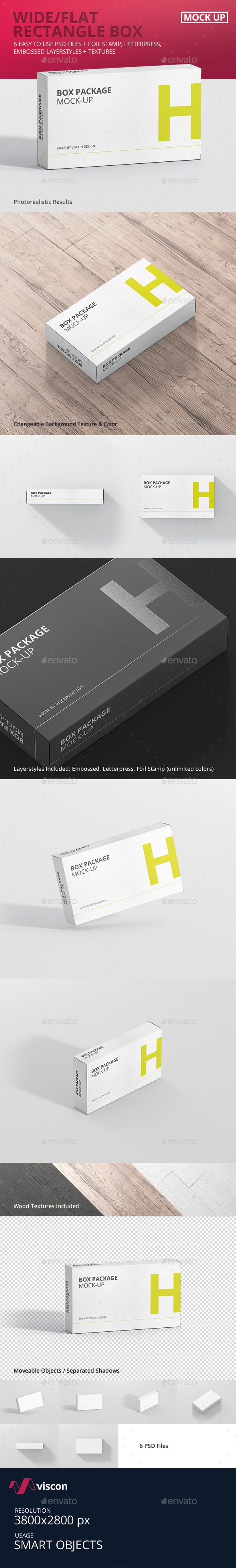 Package Box Mock-Up - Wide / Flat Rectangle