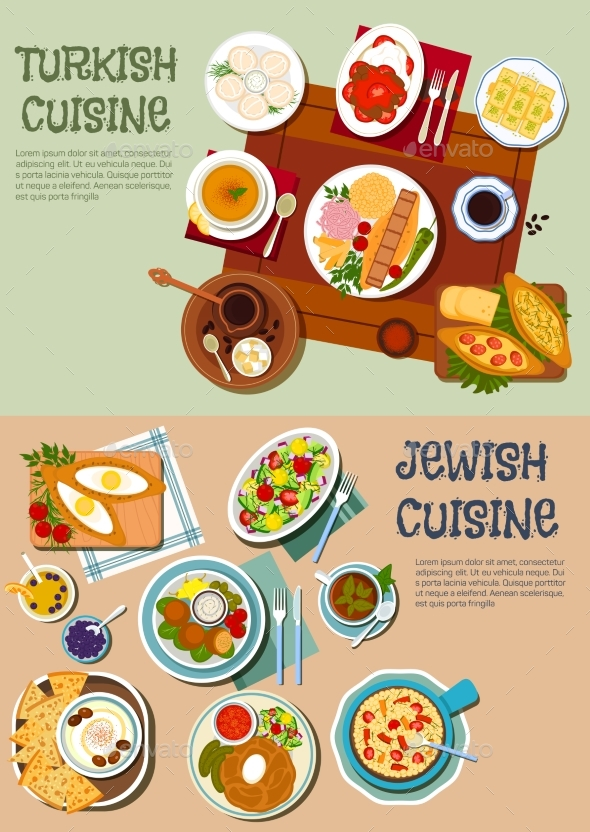 National Cuisine Of Turkey And Israel Flat Icon