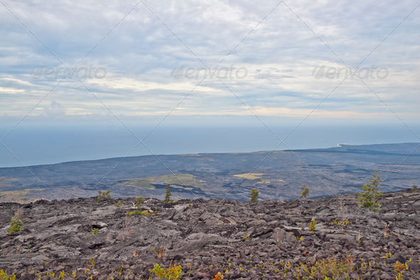 View from Chain of craters road in Big Island Hawaii - Stock Photo - Images