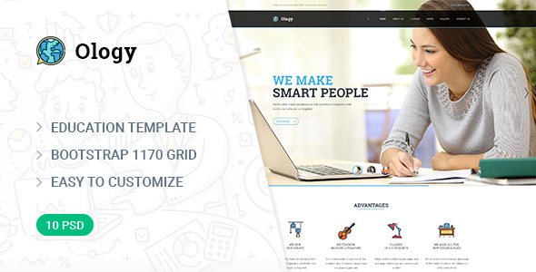 Ology — Education | Courses | Classes PSD Template