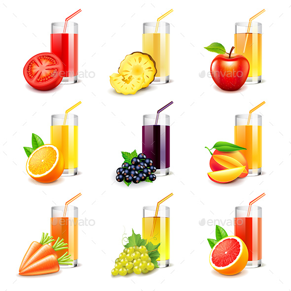 Fruit Juice Icons Vector Set