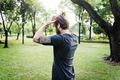 Sportman Athlete Exercise Healthy Lifestyle Park Concept