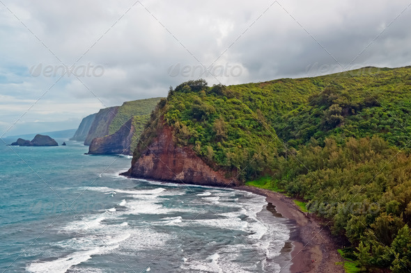 Polulu Valley beach on Big Island in Hawaii - Stock Photo - Images