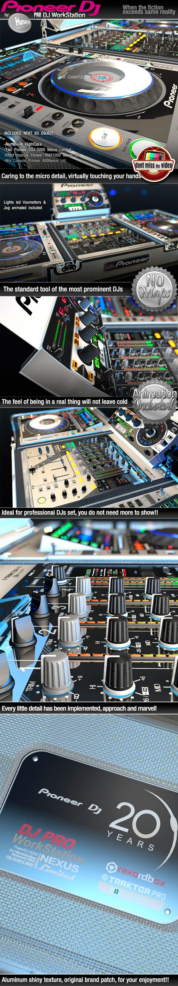Pro DJ Equipment Workstation Flightcase Digital CDJ & RMX Pioneer - 3DOcean Item for Sale