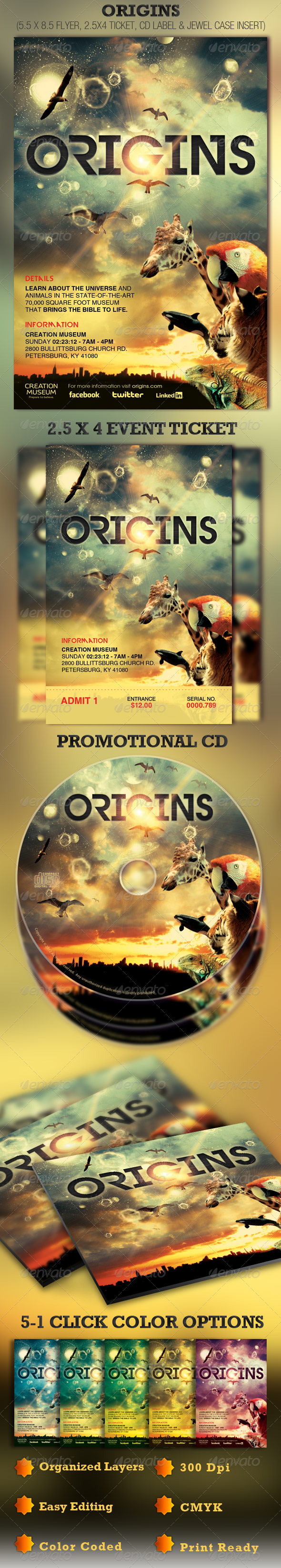 Origins Flyer Ticket and CD Template