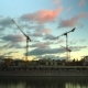Evening Moscow River And Busy Construction Site  Video