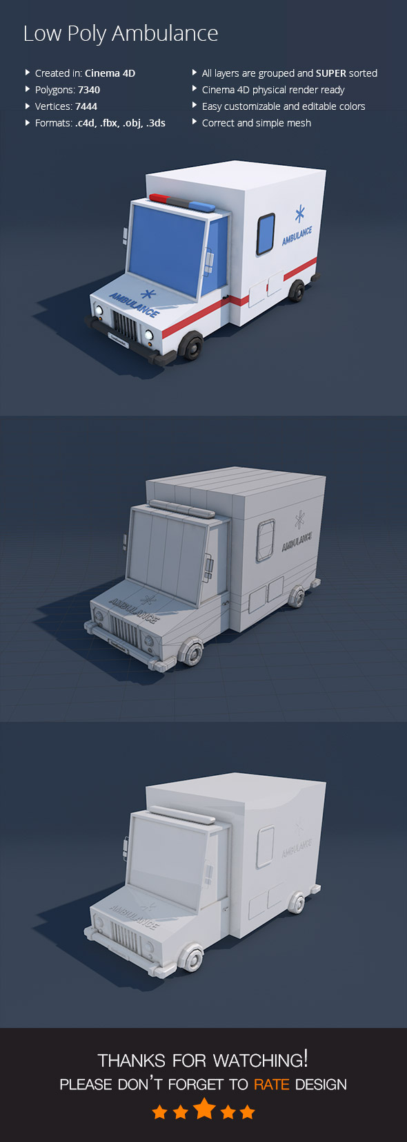 3DOcean Low Poly Ambulance Car 16955088