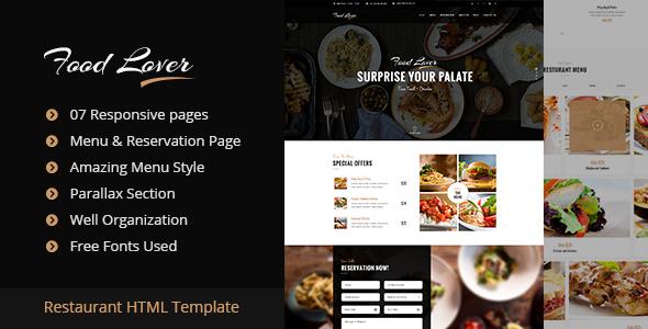 Food Lover Restaurant HTML Template