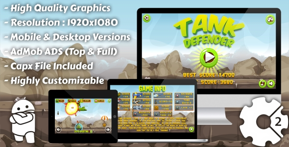 Tank Defender - HTML5 Game, Mobile Vesion+AdMob!!! (Construct-2 CAPX)