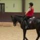 Girl Jockey Riding a Black Horse
