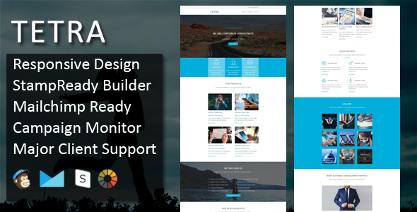 TETRA - Multipurpose Responsive Email Template + Stampready Builder