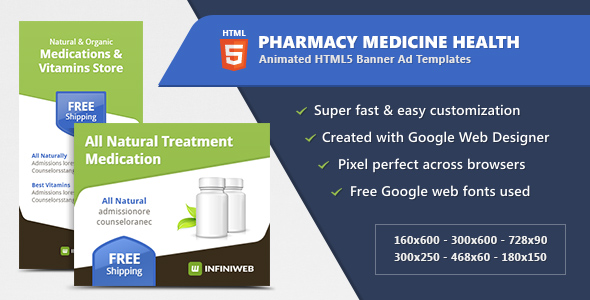 Download Pharmacy Medicine Health - HTML5 Banner Ad Templates nulled download
