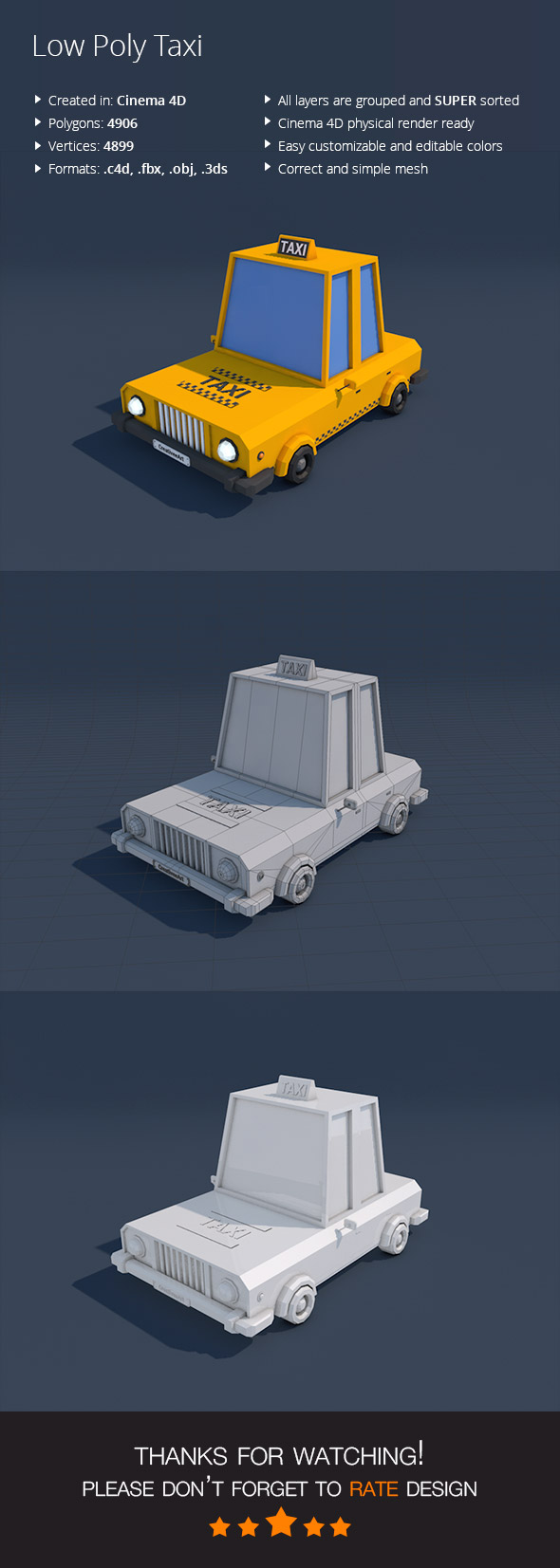 Low Poly Taxi Car - 3DOcean Item for Sale