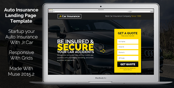 Jr. Auto Insurance - Landing Page Muse Template