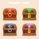 Colorful Vintage Wooden Chest with Diamonds