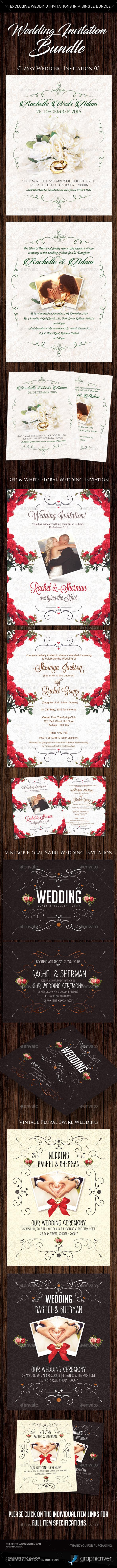 Modern Wedding Invitation Bundle (4in1)
