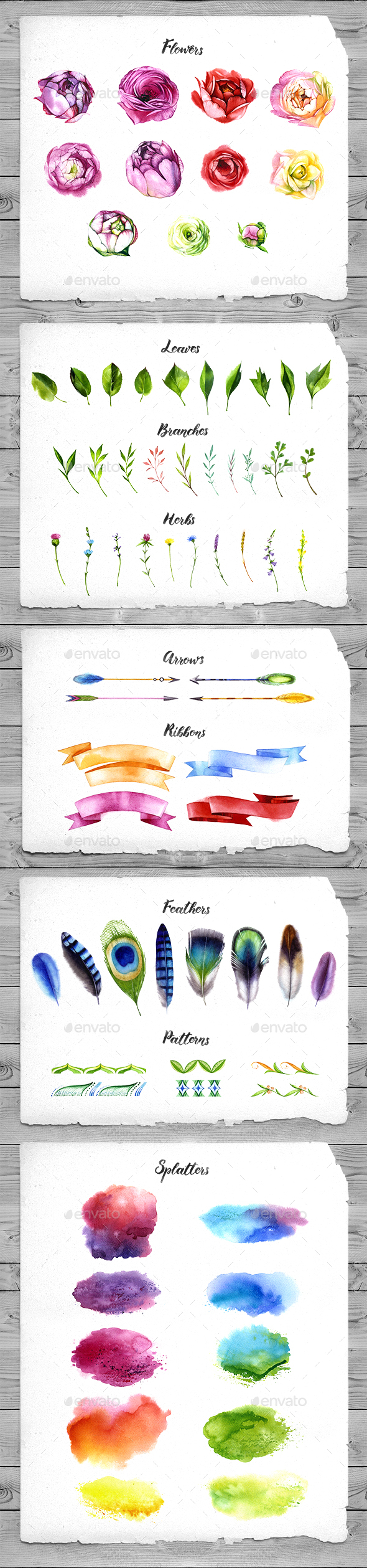 Watercolor Flowers – Hand Drawn Watercolor Floral Kit