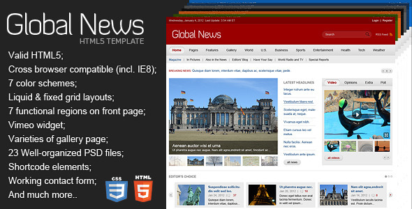 ThemeForest Global News Portal HTML5 & CSS3 Template 1651854