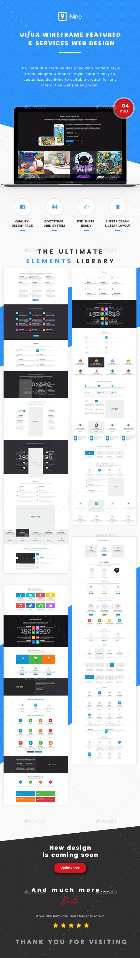 UI Kits Wireframe Featured & Services - 04 PSD (User Interfaces)