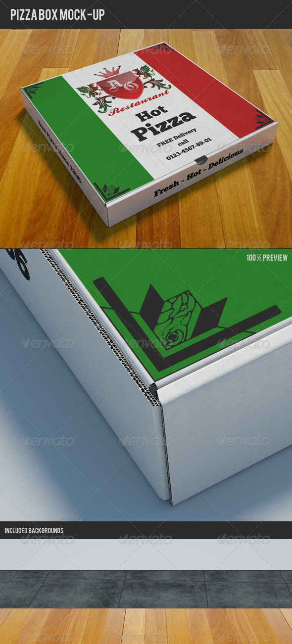 Pizzabox Mock-up - Food and Drink Packaging