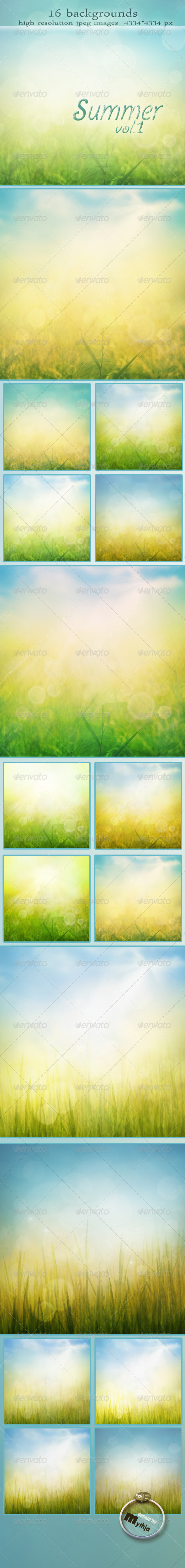 Summer Backgrounds with Bokeh Effect vol.1 - Backgrounds Graphics