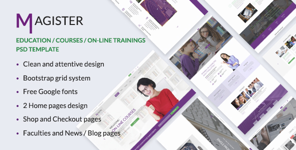 Magister —  Education, Courses, Academy PSD Template
