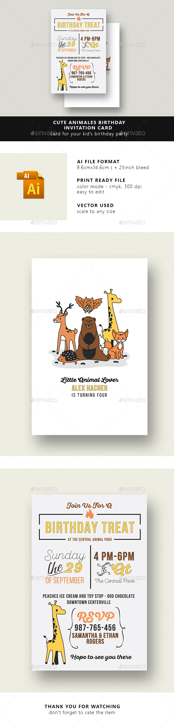 Cute Animales Birthday Invitation Card