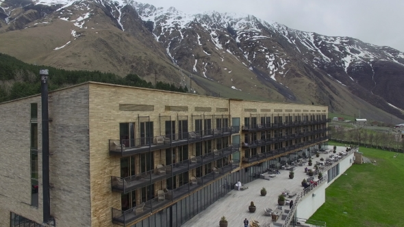 VideoHive A Large Building In The Mountains Aerial View 17016761