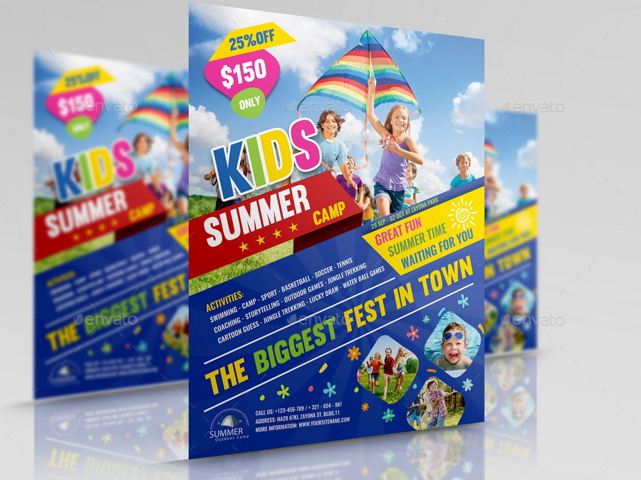 Kids Summer Camp Flyer Template by OWPictures – Summer Camp Flyer Template