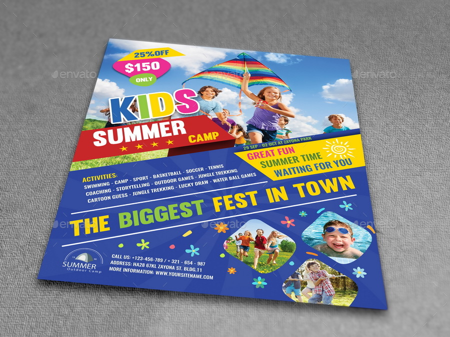 Kids Summer Camp Flyer Template by OWPictures – Camp Flyer Template