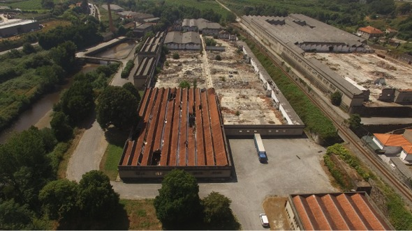 VideoHive Railway near the River Crossing Abandoned Factory 17017341