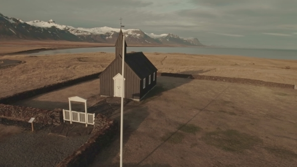 VideoHive Black Wooden Church In Budir Iceland 17017441
